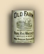 """Old Farm Pure Rye Whiskey"" Label"